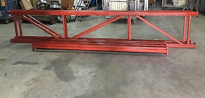 """1 Section 14 Foot Pallet Racking (2 Uprights; 4 Beams) 30"""" Depth 5,000 Pound Cap"""