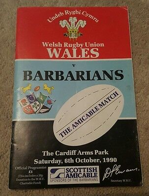 wales v Barbarians 1990 rugby union programme