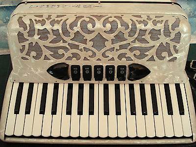 TREVANI Piano Accordion Mother of Pearl effect  w/case - Superb condition - RARE
