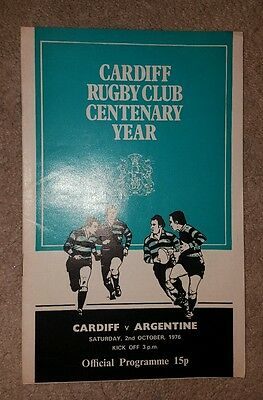Cardiff v Argentina 1976 rugby union programme