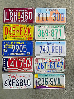 License Plate Lot of 10 Different States, Nice Color selection