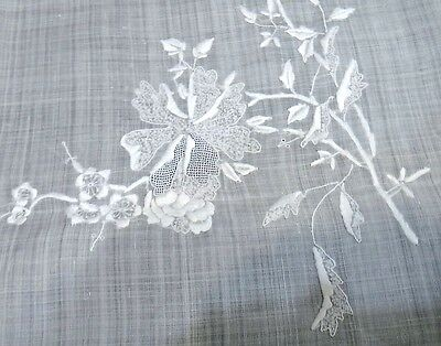 """Vintage Sheer Linen Tablecloth - Embroidery & Drawn Work 103"""" Beautiful"""