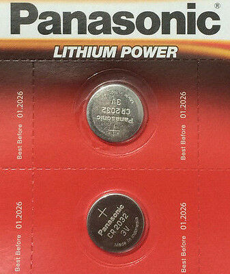 2 x Panasonic CR2032 3V Lithium Battery Coin Cell Watch Fob Toys Remote Car Key