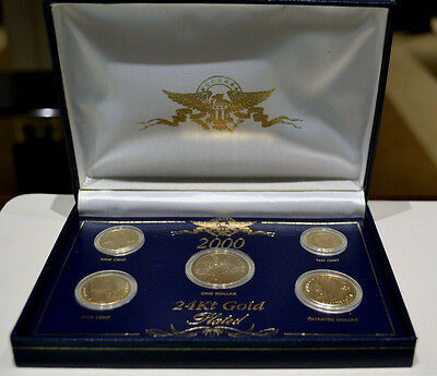 2000 24Kt Gold Plated US Coin Set With Official Ownership Transfer Document