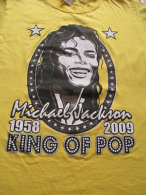Michael Jackson King of Pop Death Yellow White T Shirt Size S Small M Medium