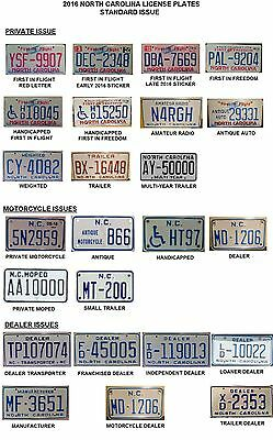2016 North Carolina NC License Plate Tags Blotter- 13 Pages