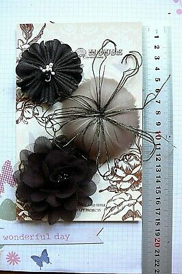 BROWN Fabric & MOCHA Flower Feather 3 Flower Pk 60-80mm - for Facinator Manor H