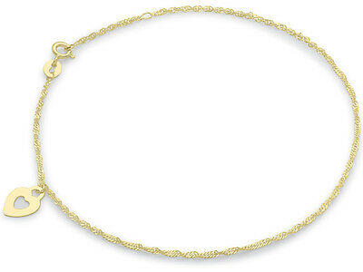 """9ct YELLOW Solid GOLD Heart Chain Anklet 23cm/9"""" to 25cm/9.5""""+FREE Gift"""