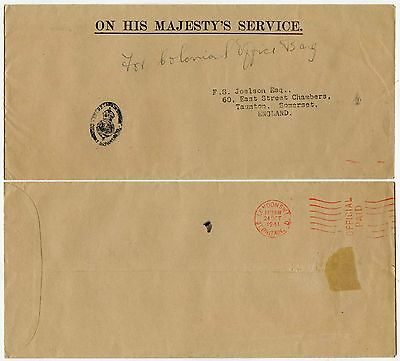 Gb 1941 Official Meter Franking Colonial Office Ohms Printed Env.diplomatic Bag