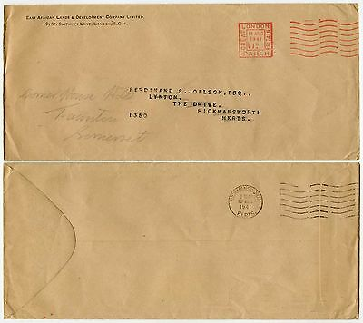 Gb 1941 Meter Franking Printed Rate East Africa Lands Dev.co Unsealed Mail