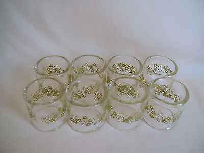 Vintage Pyrex Daisy Pattern Glass Napkin Rings Holders Set Of Eight