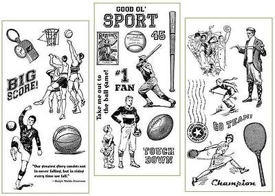 "Graphic 45 ""good Ol' Sport"" Stamp Set 1, 2 & 3 Retired   Scrapjack's Place"