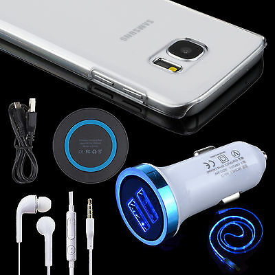 Kit LED Car Wireless Charger Micro Cable Headset Case For Samsung Galaxy S7/Edge