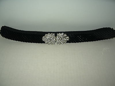 Fancy Vintage Black Sequin Stretch Belt With Clear Rhinestone Buckle Clasp