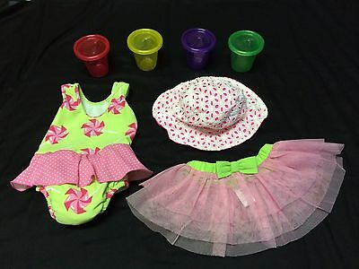 Matching Bathing Suit, Hat and Ballerina Tulle Skirt/4 sippy cups - 22-25lb 18mo