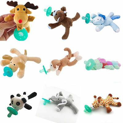 Toddler Infant Baby Soothie Boy Girl Silicone Pacifiers Cuddly Plush Animal Pet