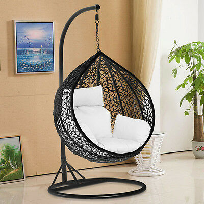 Rattan Hanging Swing Chair with cushion Wicker Beach Hanging Hammock Seat Used A