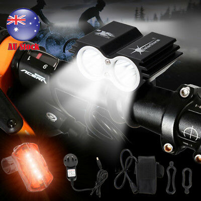SolarStorm 6000Lm 2x XM-L U2 LED Front Bicycle Bike Torches HeadLight Rear Light