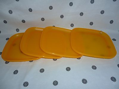 Tupperware Square Luncheon Plates Set of 4 Yellow NEW!