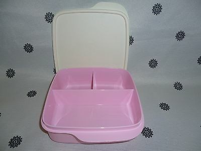 Tupperware Divided Square Lunch Box 550ml Pink New
