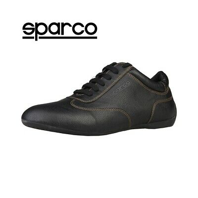 NEW Sparco Mens Black Leather Sneakers Sport Casual Driving Racing Shoes Sale