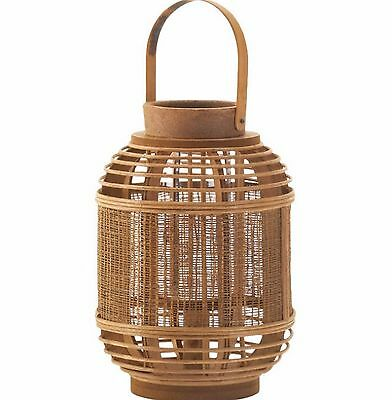 Lantern Candle Light Holder Decor Bamboo Glass Home Garden Display Hang Brown