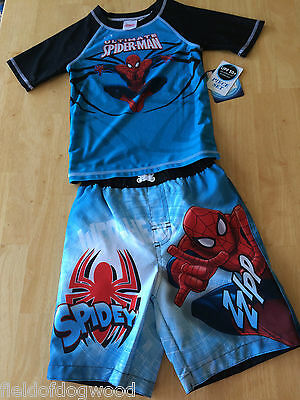 NWT Marvel Spiderman RASH GUARD Swim TRUNKS SET 3T 4T UPF 50+ UV PROTECTION