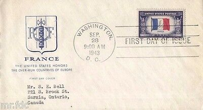 Usa Fdc 1943 # 915 Overrun Countries: France