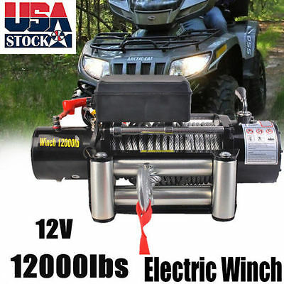 US 12000lbs 12V Electric Recovery Winch Truck SUV Durable Remote Control KA