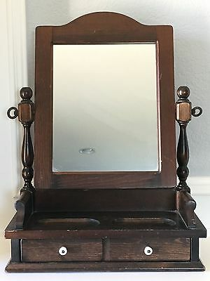 Vintage Shaving/Counter Top Mirror with Drawer From Cornwall Wood Products Paris