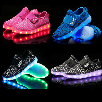 Kid Boy Girl USB Charge LED Light Up Luminous knitting Shoes Trainers Sneaker