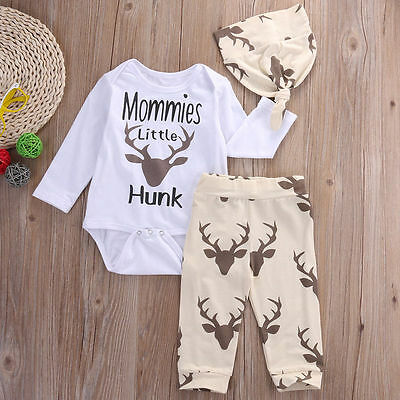 US STOCK Baby Boy Long Sleeve Romper+ Pants Hat 3PCS Outfits Set Clothes