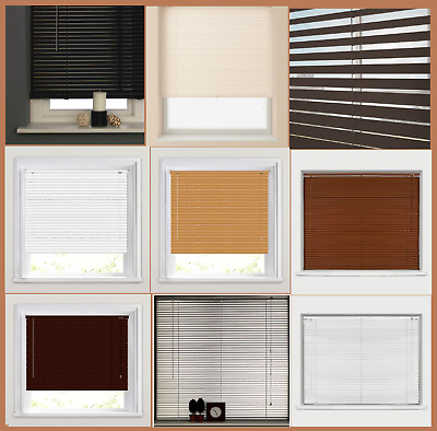 New Pvc Venetian Window Blinds Blind Easy Fit Wood Grain Effect All Sizes&Colors