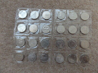 Vintage Original Collection Set 24 Coins of Latvian 1 Lat 1992s-2013s.Good Gift!