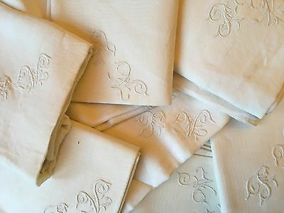 8 Large Antique Ecru French Linen Monogrammed Napkins