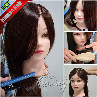 """22"""" Real Human Hair Hairdressing Head Hair Mannequin W/Clamp Practice Training"""