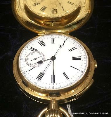 18K Fully Hallmarked Solid Gold Quarter Repeater Chronograth Gents Pocket Watch