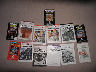 atari 2600 - 12 instructions lot - combat, asteroids, missile command