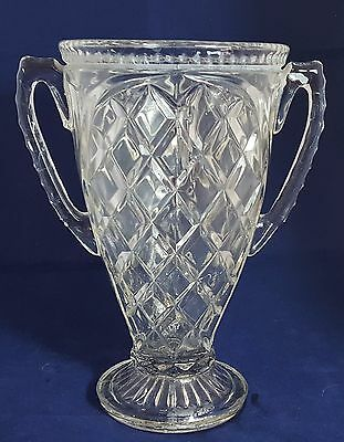 Beautiful Vintage Heavy Cut Glass Crystal Trophy Style Vase. Weight 1.465 Kg