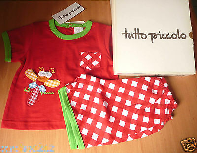 TUTTO PICCOLO Lot 2 pce ensemble 6 MOIS Fille Haut Rouge short 100 % COTON NEUF