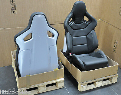 Original Audi R8 Black Leather Recaro Seats with Silver Stitching and Silver Bac