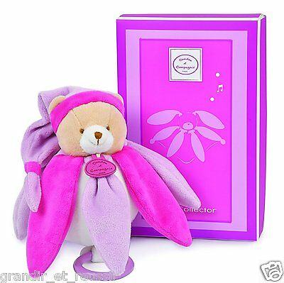 Doudou et Compagnie Ours Collector Musical pétales rose violet NEUF BOITE ou SS