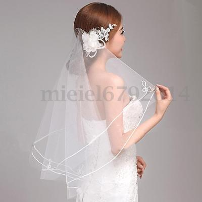 2T Layers White Short Bridal Wedding Veil With Comb Elbow Length Satin Lace Edge