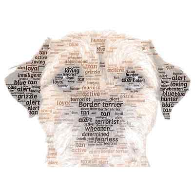 Border Terrier personalised colour word art Dog gift Pet  A4