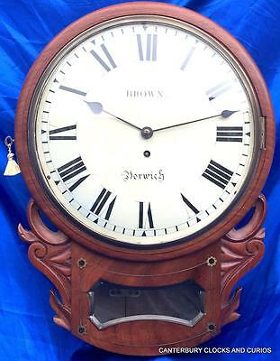 "ANTIQUE MAHOGANY 8 DAY CONVEX FUSEE 12"" DROPDIAL DIAL CLOCK BROWN NORWICH 1850c"