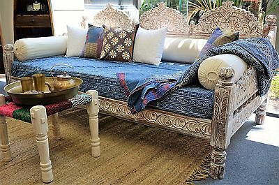 Reclaimed Timber Vintage Distressed Seat Handcarved Indian Day Bed
