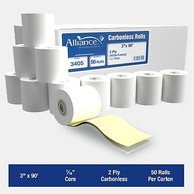 "Alliance 2 Ply Carbonless Receipt Rolls 3"" x 90'  2-Ply White/Canary - 50 Rolls"