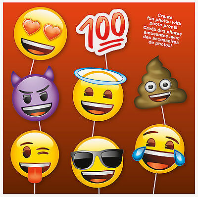 Emoji Faces | Hearts | Devil Photo Props | Photo Booth | Party | 8 Props 1-5pk