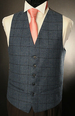 Wt-1 Mens/boys Blue Tweed Checked Waistcoat Casual / Wedding / Formal /country /