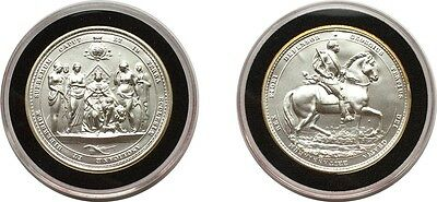GREAT SEALS OF THE REALM - FIVE OUNCE 5oz SOLID SILVER MEDAL - GEORGE III